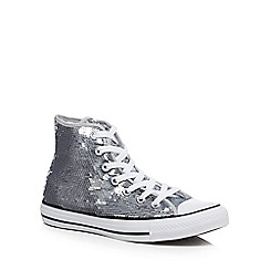 Converse - Silver sequinned 'Chuck Taylor All Star' hi-top trainers