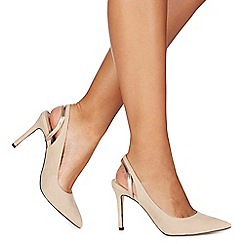 Faith - Natural suedette 'Chelsea' high stiletto heel slingback sandals