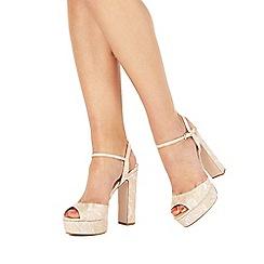 Faith - Light pink 'Lou' high block heel ankle strap sandals