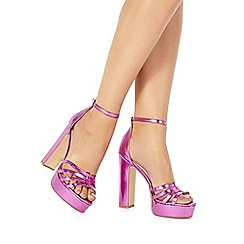 Faith - Pink 'Lelly' high block heel ankle strap sandals