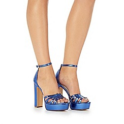 Faith - Blue 'Lelly' high block heel ankle strap sandals