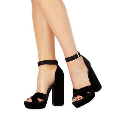 30110df6b095 Faith - Black  Louisa  high block heel ankle strap sandals