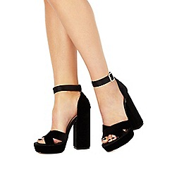 Faith - Black 'Louisa' high block heel ankle strap sandals