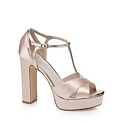 Faith - Pink satin 'Lauren' high heel platform T-bar sandals