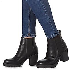 Faith - Black 'Baker' high block heel Chelsea boots