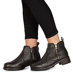 Faith - Black leather 'Bea' mid block heel ankle boots