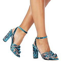 Faith - Turquoise 'Daphne' high block heel ankle strap sandals