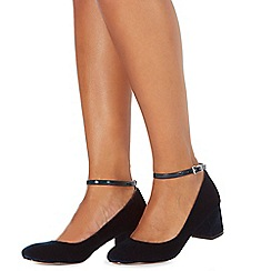 Faith - Navy 'Alexia' low block heel court shoes