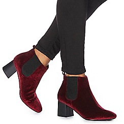 Faith - Red 'Bromance' high block heel Chelsea boots