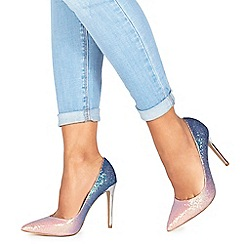 Faith - Pink and blue glitter 'Chloe Ombre' high stiletto heel pointed shoes