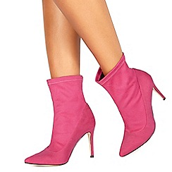 Faith - Pink suedette 'Bow' high stiletto heel ankle boots