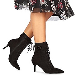 Faith - Black suedette 'Bing' high stiletto heel ankle boots
