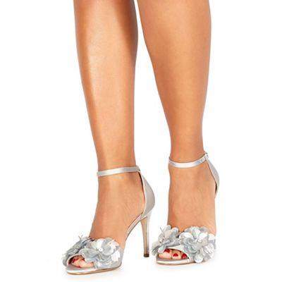 Faith - Silver 'Lolo' high stiletto heel ankle strap sandals
