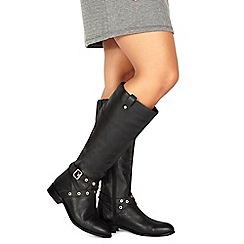 Faith - Black leather 'Mildred' calf boots