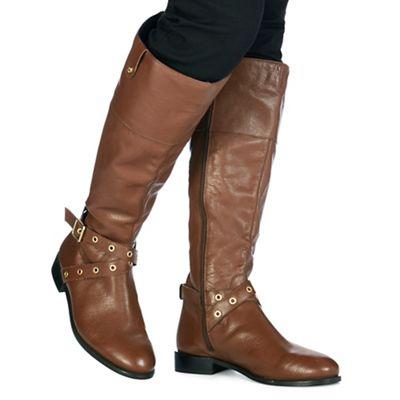 Mujer ladies flat flat flat low heel pull on knitted collar cuff biker calf botas Talla 1b2806
