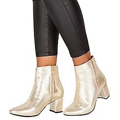 Faith - Gold leather 'Bold' mid block heel ankle boots