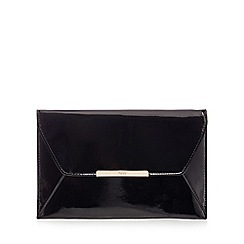 Faith - Black patent 'Paisley' envelope clutch bag