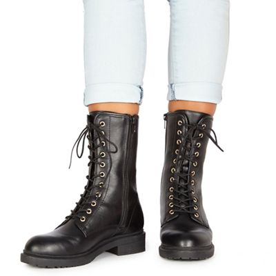 Faith - Black 'Bertie' biker boots