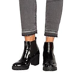 Faith - Black patent 'Baker' high block heel Chelsea boots