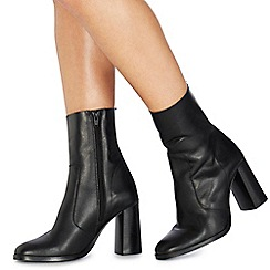 Faith - Black leather 'Bonita' high block heel ankle boots