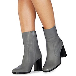 Faith - Grey leather 'Bonita' high block heel ankle boots