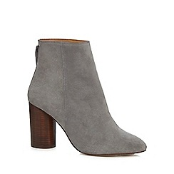 Faith - Grey suede 'Biscuit' high block heel ankle boots