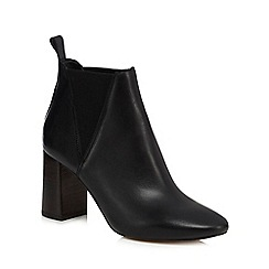 Faith - Black leather 'Benji' high block heel ankle boots