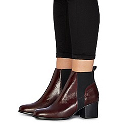 Faith - Dark red leather 'Belisa' mid block heel ankle boots