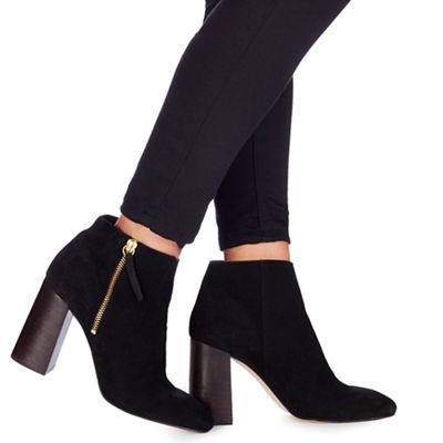 Faith - Black suede 'Base' high block heel ankle boots