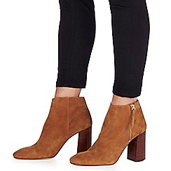 Faith - Tan suede 'Base' high block heel ankle boots