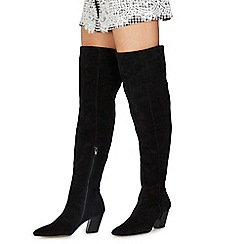Faith - Black suede 'Move' mid block heel knee high boots