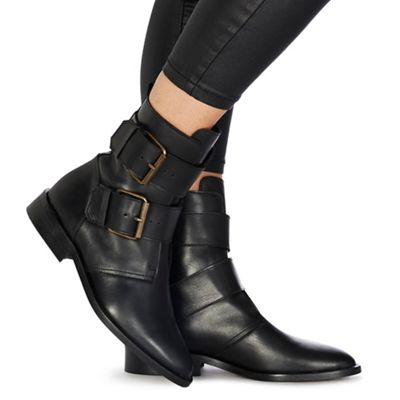 Faith   Black Leather 'buckle' Ankle Boots by Faith