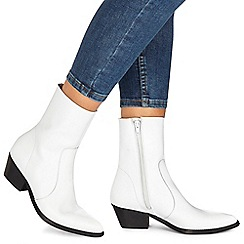 Faith - White leather 'Bink' mid block heel ankle boots