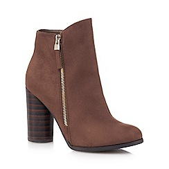 Call It Spring - Brown suedette 'Azizi' High block heel ankle boots
