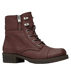 Call It Spring - Ladies flat lace up boot with fold over collar