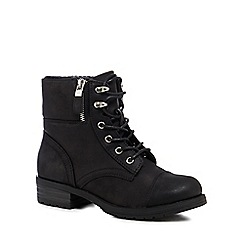 Call It Spring - Black 'Prien' mid block heel biker boots
