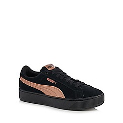 Puma - Black suede 'Vikky' flatform heel trainers