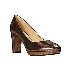 Clarks - Brown leather 'Kendra Sienna' high block heel court shoes