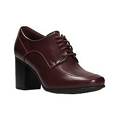 Clarks - Burgundy leather 'Kensett Darla' high block heel lace-up shoes