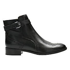 Clarks - Black leather 'Netley Olivia' block heel ankle boots