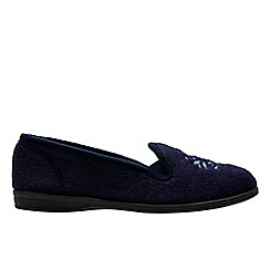 Clarks - Navy 'Marsha rose' womens slippers