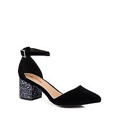 Call It Spring - Black 'Trivio' mid block heel ankle strap sandals