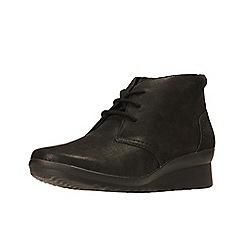 Clarks - Black 'Caddell Hop' mid wedge heel ankle boots