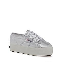 Superga - Silver 'Cotmetu' mid flatform lace up trainers