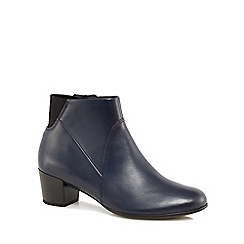 ECCO - Navy leather 'Shape M' mid block heel ankle boots