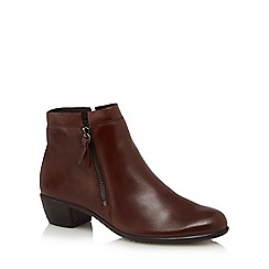 ECCO - Brown leather 'Touch 35' mid block heel ankle boots