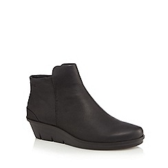 ECCO - Black leather 'Skyler' mid wedge heel ankle boots