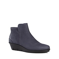 ECCO - Blue leather 'Skyler' mid wedge heel ankle boots