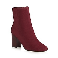 J by Jasper Conran - Wine red suede 'Jones' high block heel ankle boots