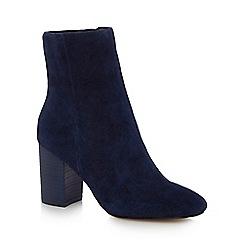 J by Jasper Conran - Navy suede 'Jones' high block heel ankle boots